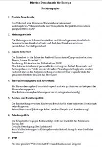 """Das 7-Punkte-""""Positionspapier"""" des PEGIDA-Ablegers Direkte Demokratie für Europa."""